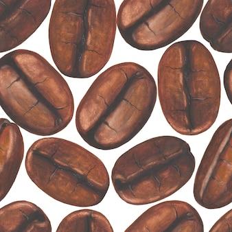 Бесшовный фон с акварельной ручной росписью кофейных зерен на белом фоне Premium Фотографии