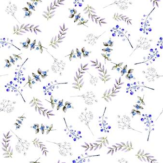 수채화 잎, 열매와 완벽 한 패턴