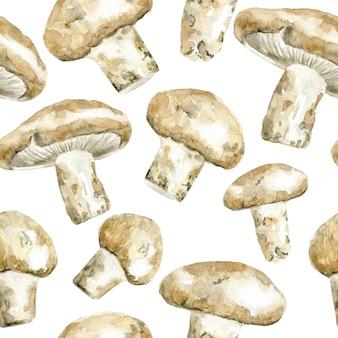 수채화 송이 버섯과 완벽 한 패턴
