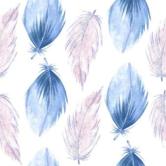 白の水彩ピンクと青のプルームとのシームレスなパターン