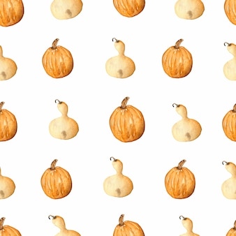 Seamless pattern with watercolor pumpkin
