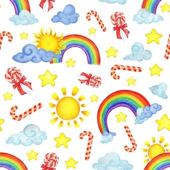 Бесшовный образец с акварельными радужными облаками, солнцами, конфетами и звездами. современные иллюстрации на белом фоне. дизайн для детского текстиля, декор для детской комнаты. изолированные на белом.