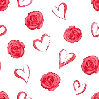 Seamless pattern with watercolor red roses and hearts on white surface