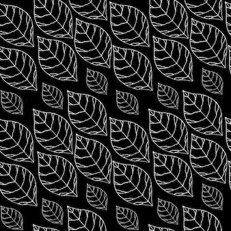 黒の背景に白い葉とシームレスなパターン