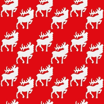 Seamless pattern with white wooden figure of deer with big horns.