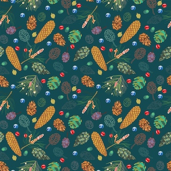 Seamless pattern with wild berries and cones on a dark background