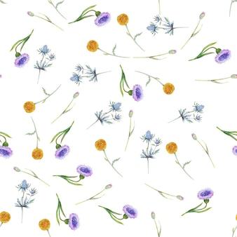 야생화와 잎 흰색 바탕에 완벽 한 패턴입니다. 벽지 또는 직물의 꽃 패턴
