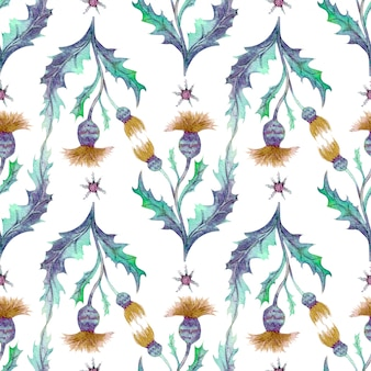 Seamless pattern with wildflowers and leaves on white background