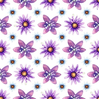 흰색 바탕에 야생화와 완벽 한 패턴입니다. 벽지 또는 직물의 꽃 패턴
