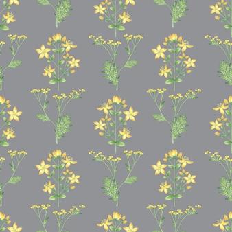 灰色の背景に黄色の花とシームレスなパターン