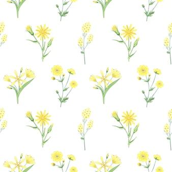 黄色い花とのシームレスなパターン