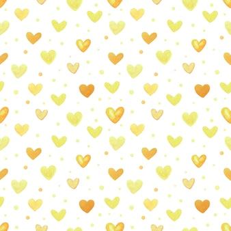 黄色いハートのシームレスなパターン。手描きの水彩イラスト。デザインのための装飾的な要素。クリエイティブアートワーク
