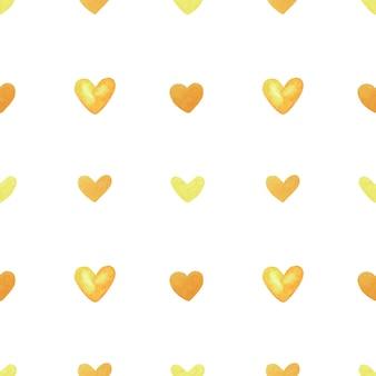 黄色いハートのシームレスなパターン。手描きの水彩イラスト。デザインのための装飾的な要素。
