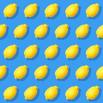 Seamless pattern with yellow lemon on blue