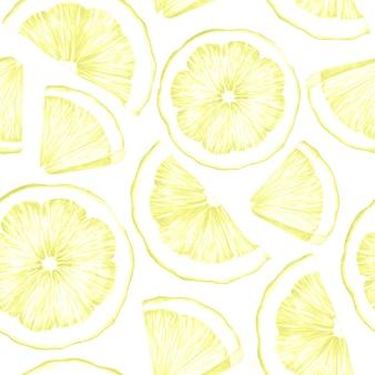 白い背景の上の黄色のレモンスライスとのシームレスなパターン
