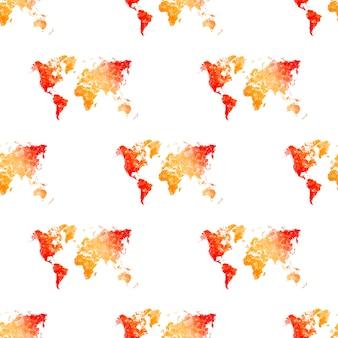 シームレスなパターンの世界地図、白い背景で隔離。地球平面説、灰色の地図テンプレート、