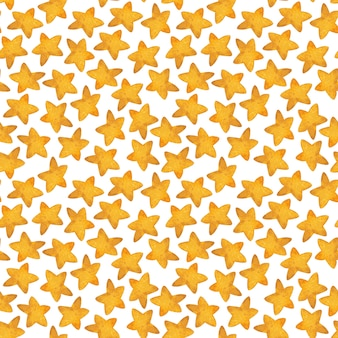 Seamless pattern of yellow star. watercolor illustration.