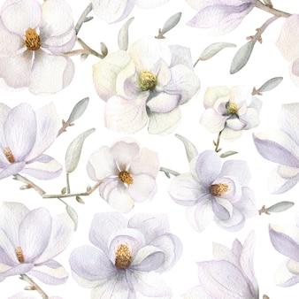 흰색 격리된 배경에 보헤미안 스타일의 목련 꽃과 함께 매끄러운 패턴입니다. 수채화 그림입니다.