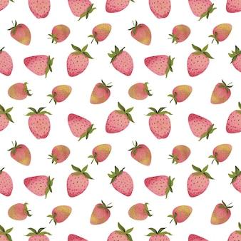 さまざまな形の熟したイチゴの様式化された画像とのシームレスなパターン