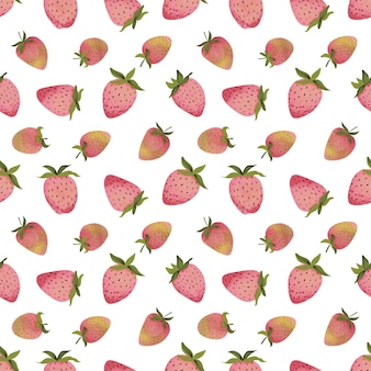 Seamless patterns with stylized images of ripe strawberries in different shapes