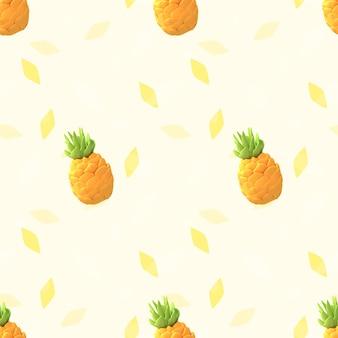 Бесшовные ананасовый узор 3d визуализации изображения