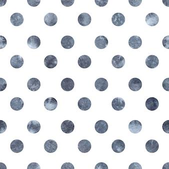 シームレスな水玉ブルー グレー水彩パターン。手描きのイラスト。