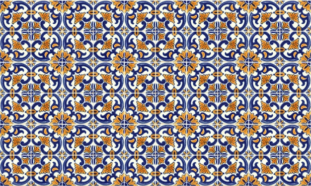 Seamless portugal or spain azulejo tile background