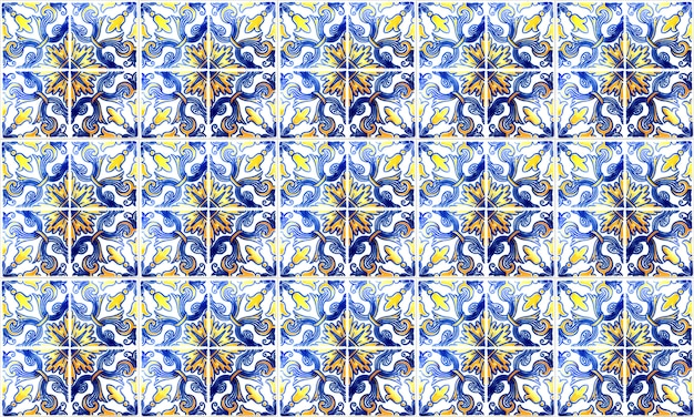 Seamless portugal or spain azulejo tile. high resolution.