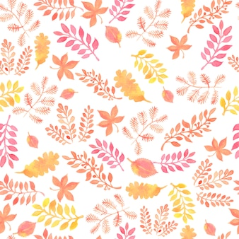 Seamless raster pattern with watercolor autumn oak leaves.