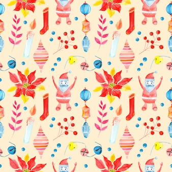 Seamless raster watercolor pattern of christmas and new year symbols.