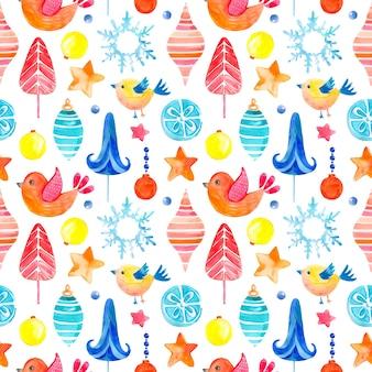 クリスマスのシンボルのシームレスなラスター水彩パターン。