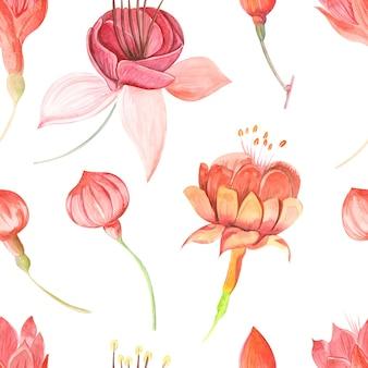 꽃 자홍색과 잎이 있는 매끄러운 래스터 수채화 패턴은 색이 있는 배경에 닫힙니다.