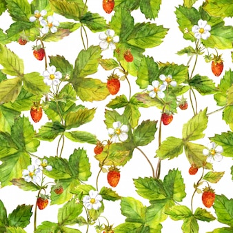 Seamless repeated pattern with field of wild forest strawberry
