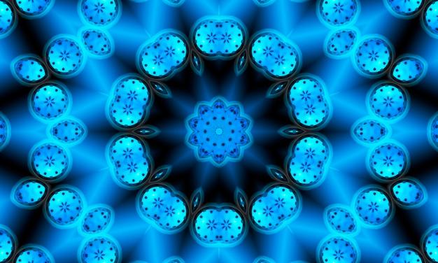 파란색과 검정색 배경에 밝은 파란색의 다양한 음영으로 기하학적 꽃 모양으로 매끄럽게 반복되는 패턴입니다.