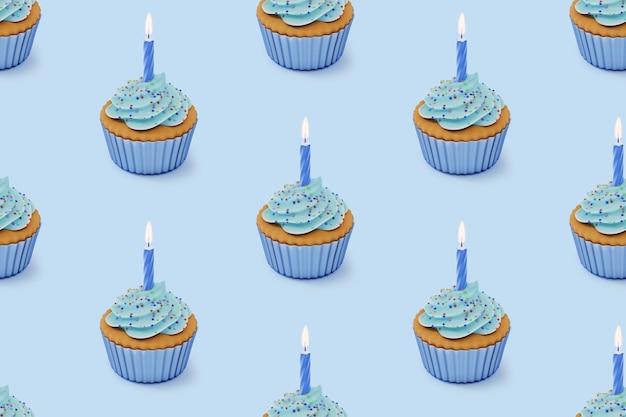 青い釉薬と青い背景にカラフルな振りかけるカップケーキ、3dレンダリングとのシームレスな繰り返しパターン。
