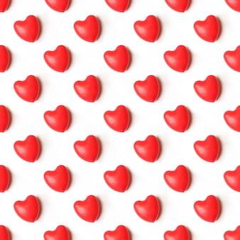 赤いハートとシームレスなロマンチックなパターン。白い背景にカラフルなハート。
