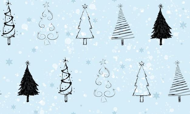 Seamless set of christmas trees pattern.