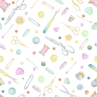 Seamless sewing pattern. scissors, thread, reel, pins, needles, buttons. hand-drawn watercolor
