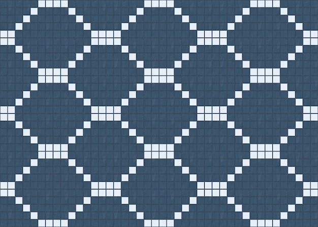 Seamless small blue among white wood tiles pattern design wall background.