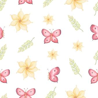 シームレスな春パターンの黄色い花、緑の葉、空飛ぶ蝶。手描き水彩イラスト。