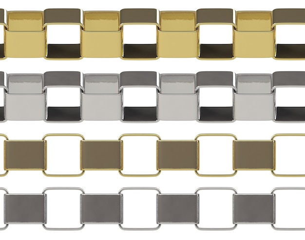 Seamless square golden and silver chain isolated on white