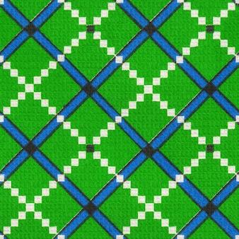 Бесшовная текстильная салфетка полотенце ткань узор текстуры текстильная зеленая синяя клетка