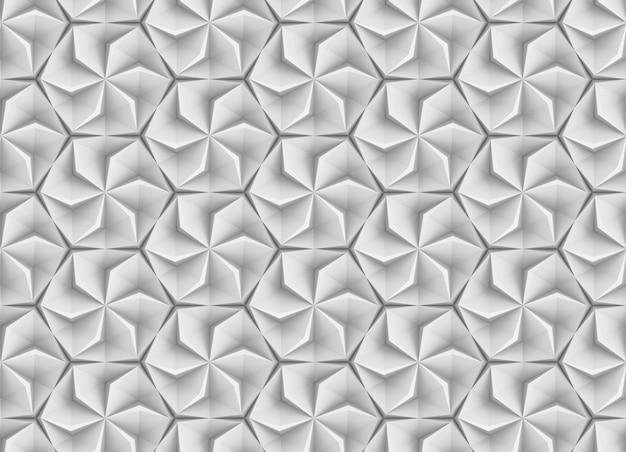 回転要素と押し出し要素の要約を含む六角形グリッドに基づくシームレスなテクスチャ3dイラスト