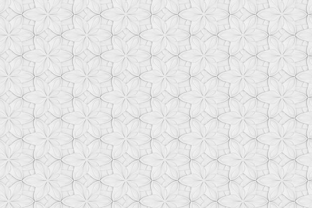 白い六角形の花のボリューム3dイラストのシームレスなテクスチャ