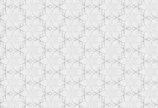 Seamless three-dimensional white pattern with six-pointed colors