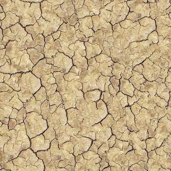 Seamless tileable texture of cracked brown soil