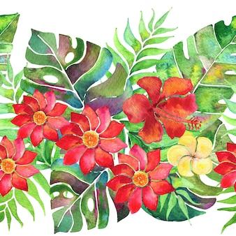 야자수 잎과 꽃이 있는 매끄러운 열대 국경. 수채화 배열