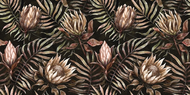 Seamless tropical pattern background with protea flowers palm leaves watercolor illustration