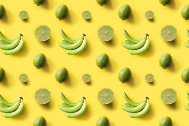 Seamless tropical pattern bananas, limes on yellow