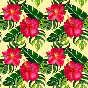 Seamless tropical pattern with flowers.